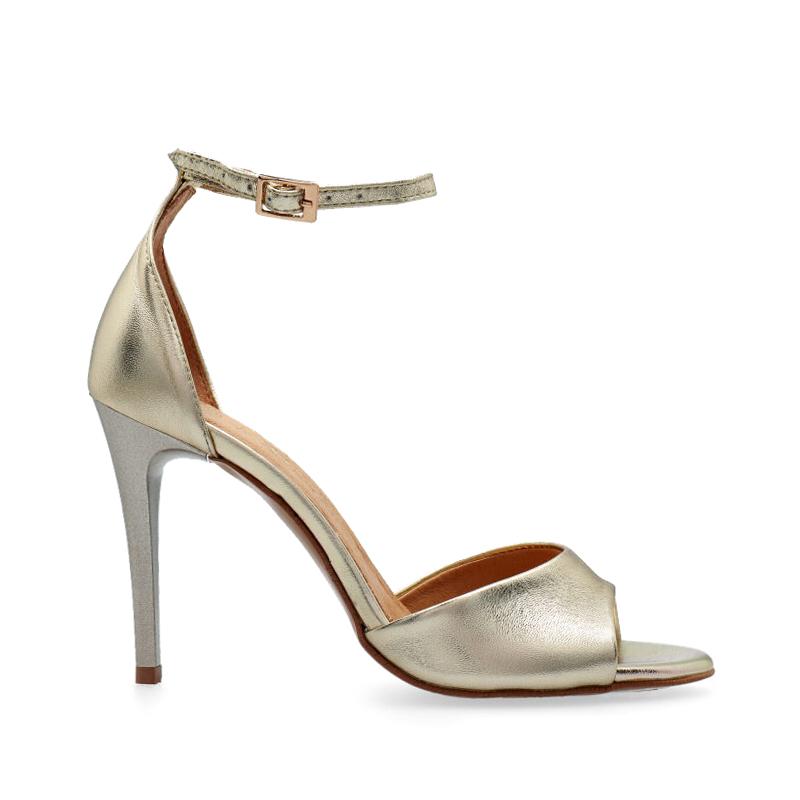 Sandałki złote na szpilce